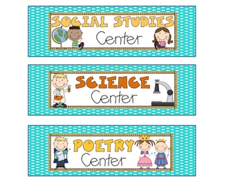 Reading Literacy Center Signs Polka Dots