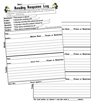 Reading Log - Reading Strategies Sentence Starters for Kid