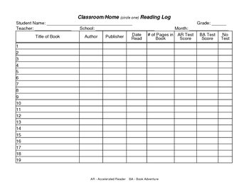 Reading Log for Home or School