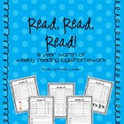 Reading Logs &amp; Homework Sheets for Kindergarten - Full Yea