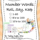 Reading Number Words - Roll, Say, Keep Game