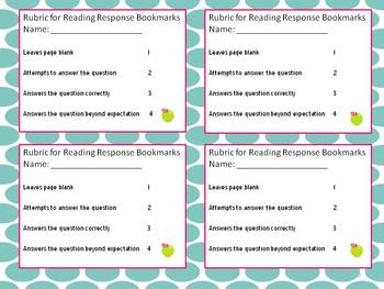 Reading Response Fiction Bookmarks Kinder-1st