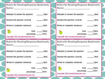 Reading Response Fiction Bookmarks