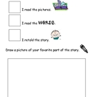 Reading Response Kindergarten Worksheet (3 ways to read a book)