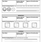Reading Response Log (for young students) -- modified for