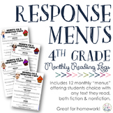 Reading Response Menus Across the Year {4th Grade CCSS-Aligned}