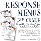 Reading Response Menus Across the Year