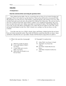 Reading Skills Practice - Main Idea - Grade 3