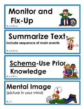Reading Strategy Cards- 1st Grade