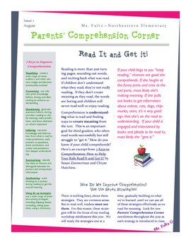 Reading Strategy Introduction Newsletter/Information