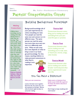 Reading Strategy Making Connections Newsletter/Info