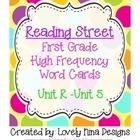 Reading Street First Grade High Frequency Cards Unit 1 - Unit 5