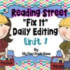 "Reading Street ""Fix It"" Editing Grade One/Unit 1"