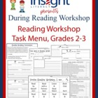Reading Workshop Task Menu &amp; Recording Sheets, Grades 2 &amp; 3