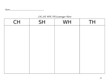 Reading and Language Arts Scavenger Hunt Template