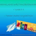 Reading and Writing Bookmarks for Grades 5-8