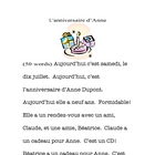 Reading -beginning French - Anne''s birthday