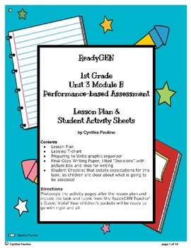 READYGEN UNIT 3 MOD B PBA LESSON PLAN AND ACTIVITY SHEETS (1ST GRADE