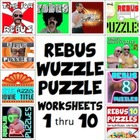 Rebus &quot;Wuzzle&quot; Puzzle Worksheet BUNDLE (WORKSHEETS 1 through 10)