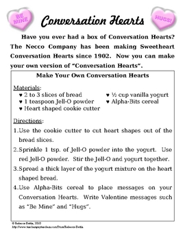 Recipe for Reading Comprehension - Conversation Hearts