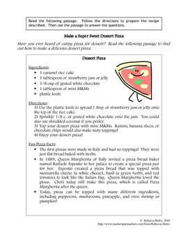 Recipe for Reading Comprehension - Dessert Pizza