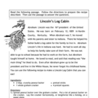 Recipe for Reading Comprehension - Lincoln's Log Cabin