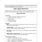 Recipe for Reading Comprehension - Spooky Witch&#039;s Brew