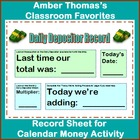 Record Sheet for Calendar Money Deposit Activity