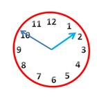 Red Analog Clock Clip Art in 5 Minute Increments