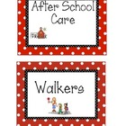 Red Polka Dot Dismissal Signs - How do you go home?!
