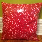Red Polka Dotted Laminated Cotton Pillow Cover 20 x 20