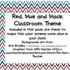 Red, White and Blue Classroom Theme Set