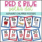 Red and Blue Polka Dot ~ Alphabet and Number Posters