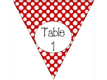 Red and White Dots Table Numbers