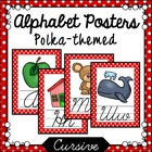 Red and White Polka Dot Cursive Alphabet Posters