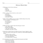 Reference Materials Quiz/Worksheet