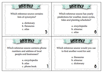 Reference and Research Task Cards