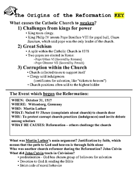 Reformation Origins - Worksheet & Key