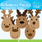 Reindeer Faces - Clipart Graphics From the Pond