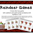 Reindeer Games: I have who has for addition and subtraction