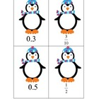 Relating Fractions & Decimals Matching Game (Penguins)