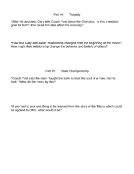 Remember the Titans Movie Worksheet