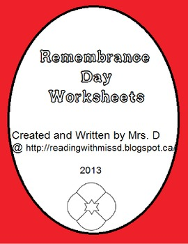 Remembrance Day Activity Sheets