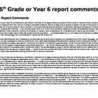 Report Card Comments - Math 5th grade (approx Age 10 - 13)