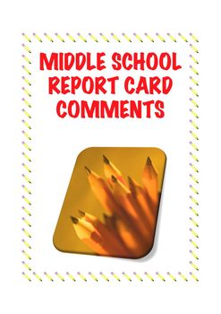 Report Card Comments for Middle School Science