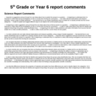 Report comments - Science approx 5th grade (Age 10 - 13)