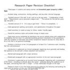 Research Paper Revision Checklist