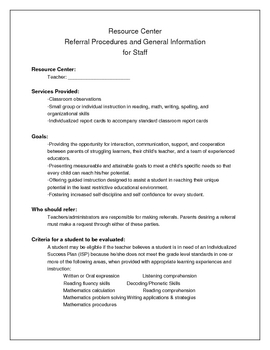 Resource / Special Ed Referral Procedures for Staff