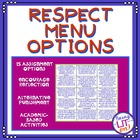 Respect Menu Options