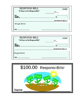 Responsi-Bill Classroom Money - Bills and Checks!